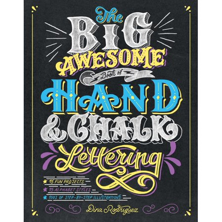 The Big Awesome Book of Hand & Chalk Lettering Get creative, express yourself, and add that personal touch with hand lettering! With illustrated step-by-step instructions, The Big Awesome Book of Hand & Chalk Lettering shows the complete beginner how to master the art of hand lettering, the composition/design of phrases on the page, and flourishes to embellish the design. It also includes chalk lettering, fun prompts for writing, and 15 projects and gift ideas, ranging from gift tags to a lettered poster to chalk-lettered signs for special events. The Big Awesome Book of Hand & Chalk Lettering covers 15 lettering styles--from Black Letter and  melting  to circus and Victorian, as well as serifs and scripts--along with numerous borders, corners, banners, bursts, frames and other accents. --Publisher