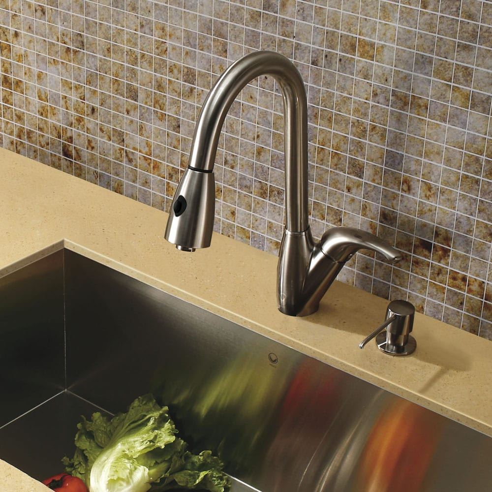 Vigo Romano Stainless Steel Pull Down Spray Kitchen Faucet With Soap  Dispenser