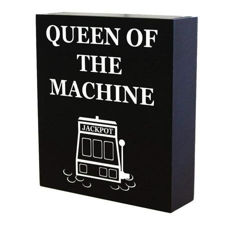 - JennyGems Casino Jackpot Slots Inspired Wood Gift Sign - Queen of the Machine - Slot Machine Keepsake Decoration for Casino Lovers