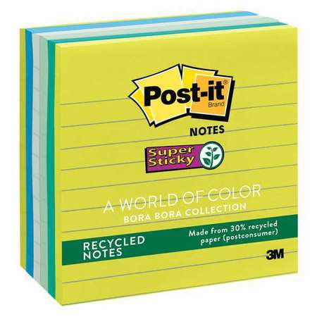POST-IT 675-6SST Recycled Super Sticky Notes, 4x4, Asst, PK6