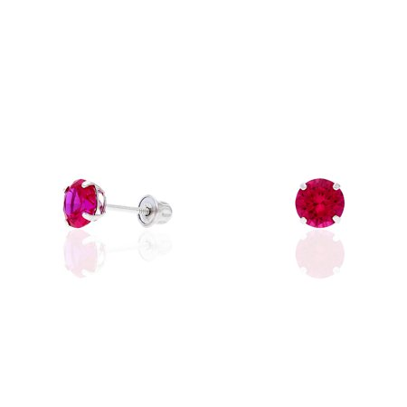 14k Yellow Gold White Gold 1.50Ct Birthstone Round Stud Screw Back Earrings ()