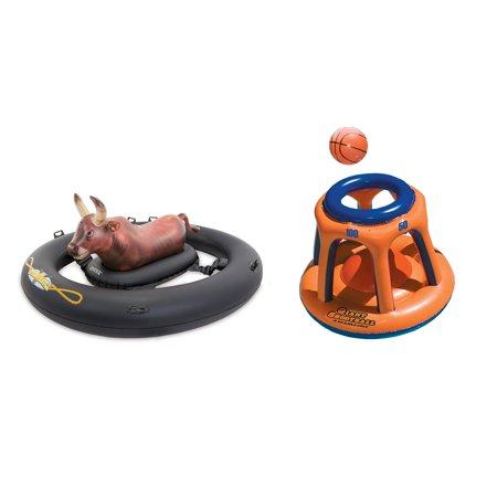 Intex Inflatabull Inflatable Swimming Pool Float & Swimline Basketball Hoop (Hood Swimming)