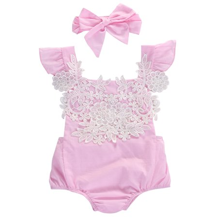 StylesILove Infant Baby Girl Ruffled Cap Sleeve Floral Lace Romper and Headband (60/0-3 Months)