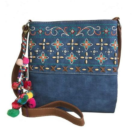 Montana West Ladies Purse Crossbody Bag Floral Embroidery Pompom Charm