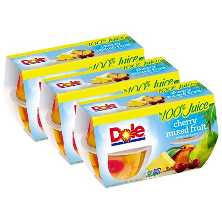 - (3 Pack) Dole Fruit Bowls, Cherry Mixed Fruit in 100% Fruit Juice, 4 Ounce (4 Cups)