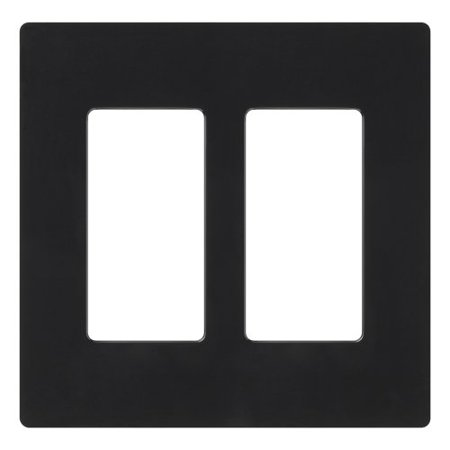 Lutron CW-2-BL Claro Two Gang Decora Durable Plastic Decorator Style Dimmers And Switches Wallplate Black