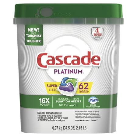 Cascade Platinum Actionpacs Dishwasher Detergent  Fresh  62 Count