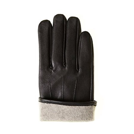 Men's Balck Leather with Cashmere Lined Gloves