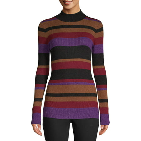 Sui by Anna Sui Women's Striped Knit Turtleneck Long Sleeve Top