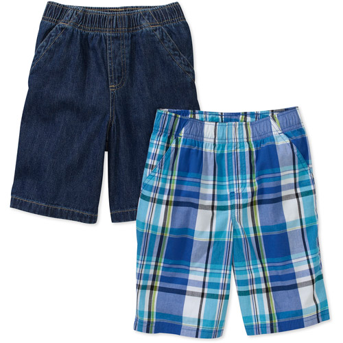 Faded Glory Little Boys Woven and Plaid Shorts, 2 Pack