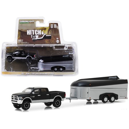 2017 Dodge Ram 2500 4x4 Pickup Truck Black with Silver Aerovault Trailer 1/64 Diecast Models by