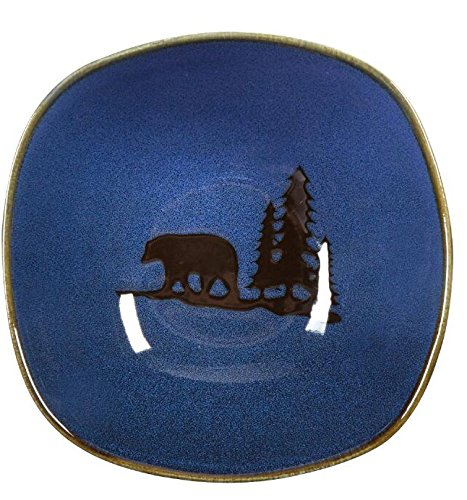 Nature's Home Bear in the Woods Square Cereal Soup Bowl (Blue)