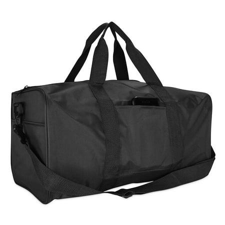 "19"" ImpecGear Duffle Bag Travel Sports Gym Nylon Square Strap Carry On Adjustable Bag (Black)"