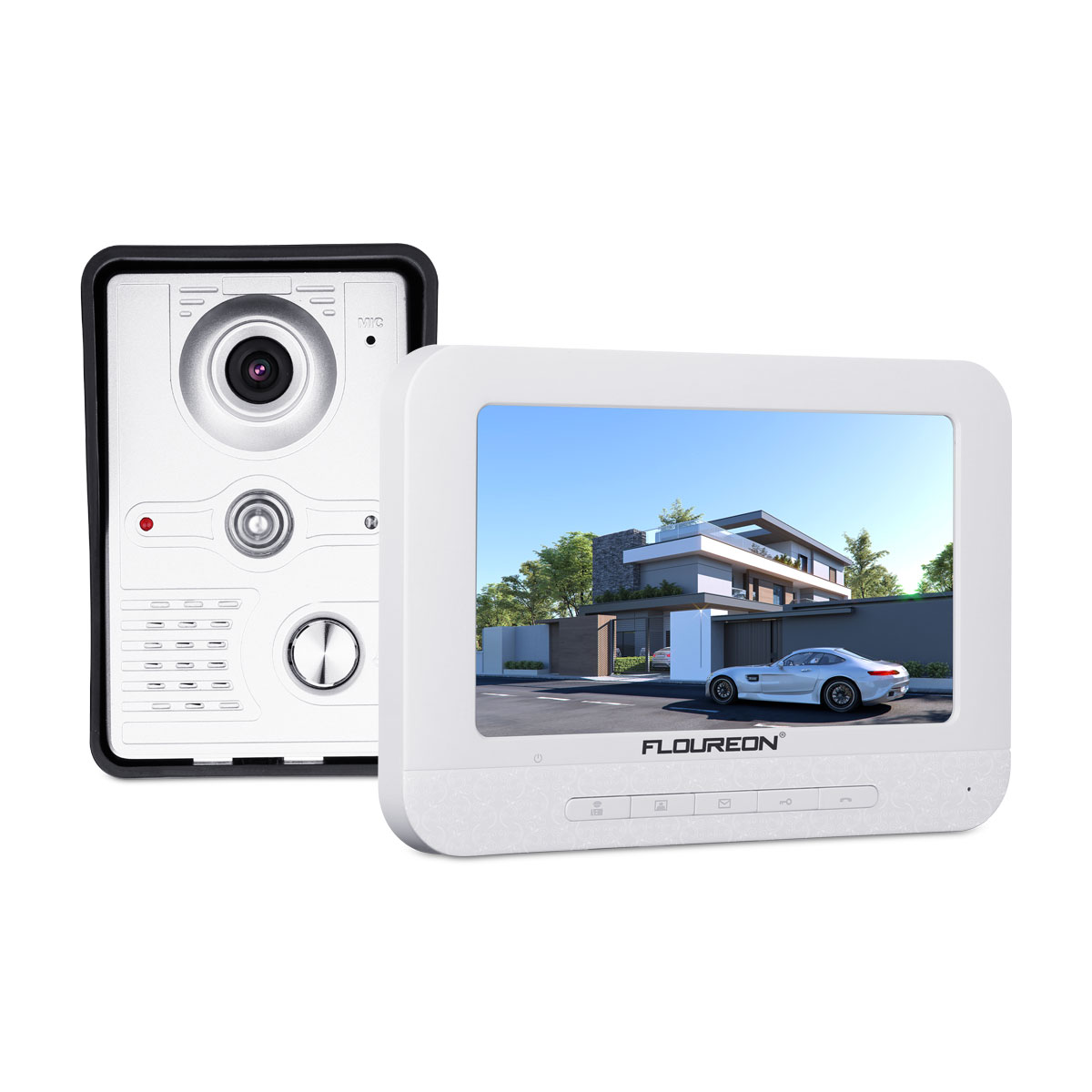 FLOUREON Video Doorbell Kit,7-inch Color Monitors and Surface Mounted HD Camera Video Doorphone,IntercomIR CCTV Camera Monitor for Private Houses, Villas, Offices, Hotels