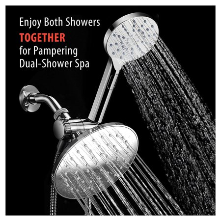 Handheld Push Button (AquaSpa 6-inch Rain Shower Head / Handheld Combo. Convenient Push-Button Flow Control Button for easy one-handed operation. Switch flow settings with the same hand! Premium)