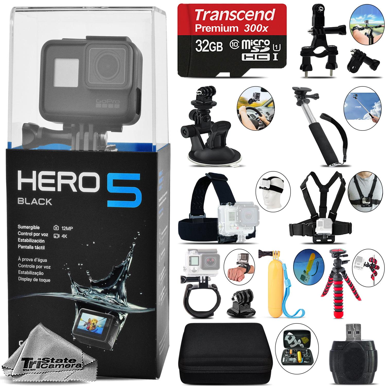 GoPro Hero 5 Black 4K30 Ultra HD, 12MP, Wi-Fi Waterproof Action Camera -32GB Kit