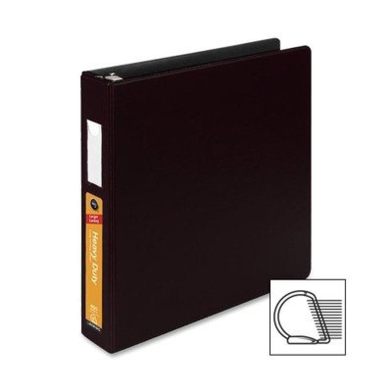 Wilson Jones 38434B Heavy-Duty No-Gap D-Ring Binder With Label Holder, 1-1 2quot; Capacity, Black by