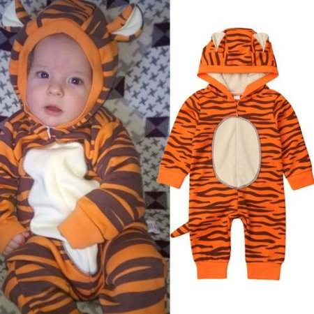 Newborn Baby Girls Boys 3D Tiger Romper Long Sleeve Bodysuit Hooded Jumpsuit Playsuit Overall Fall Winter Outfit 0-18M