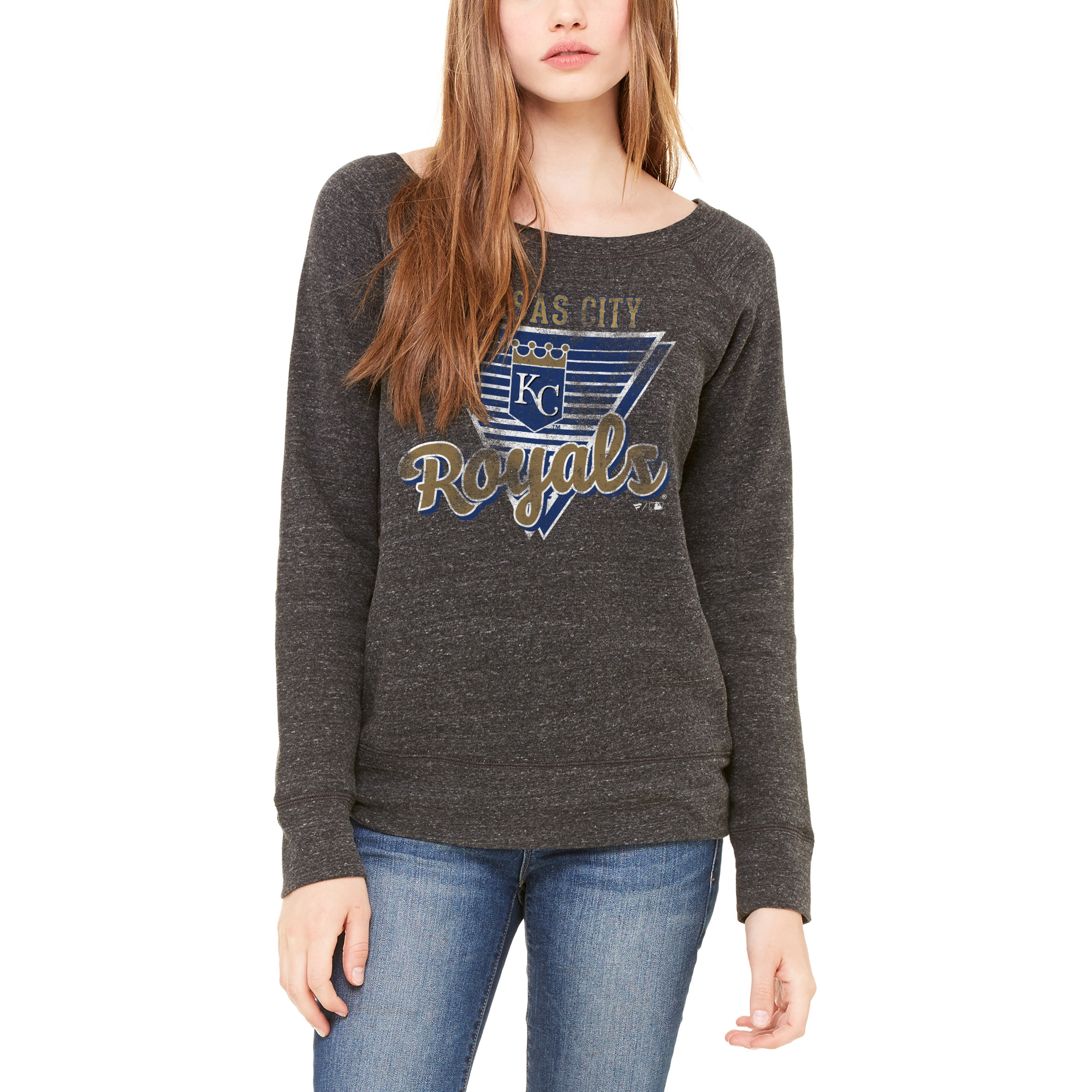 Kansas City Royals Let Loose by RNL Women's Eighty Something Wide Neck Sweatshirt - Charcoal