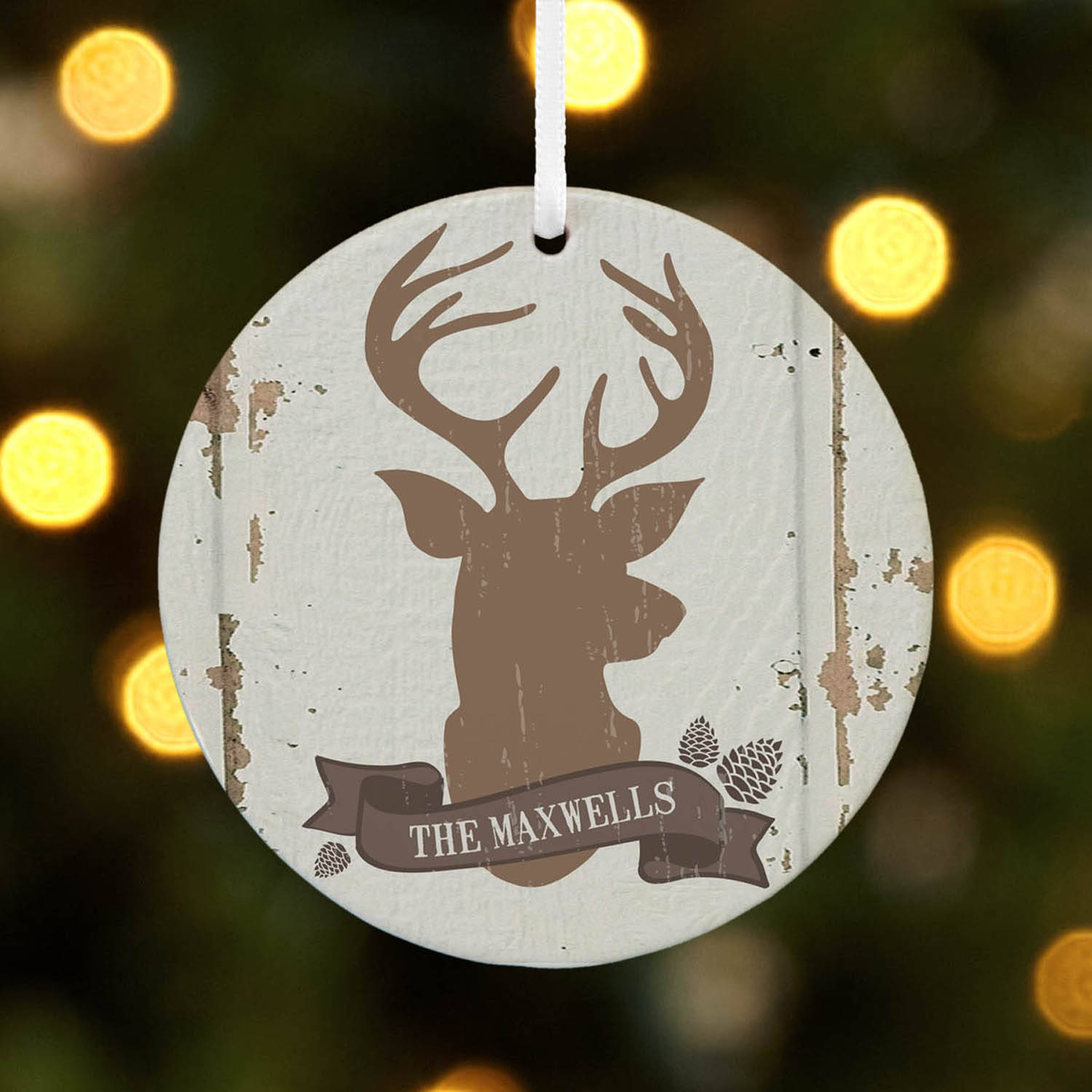 Personalized Rustic Deer Family Name Christmas Ornament