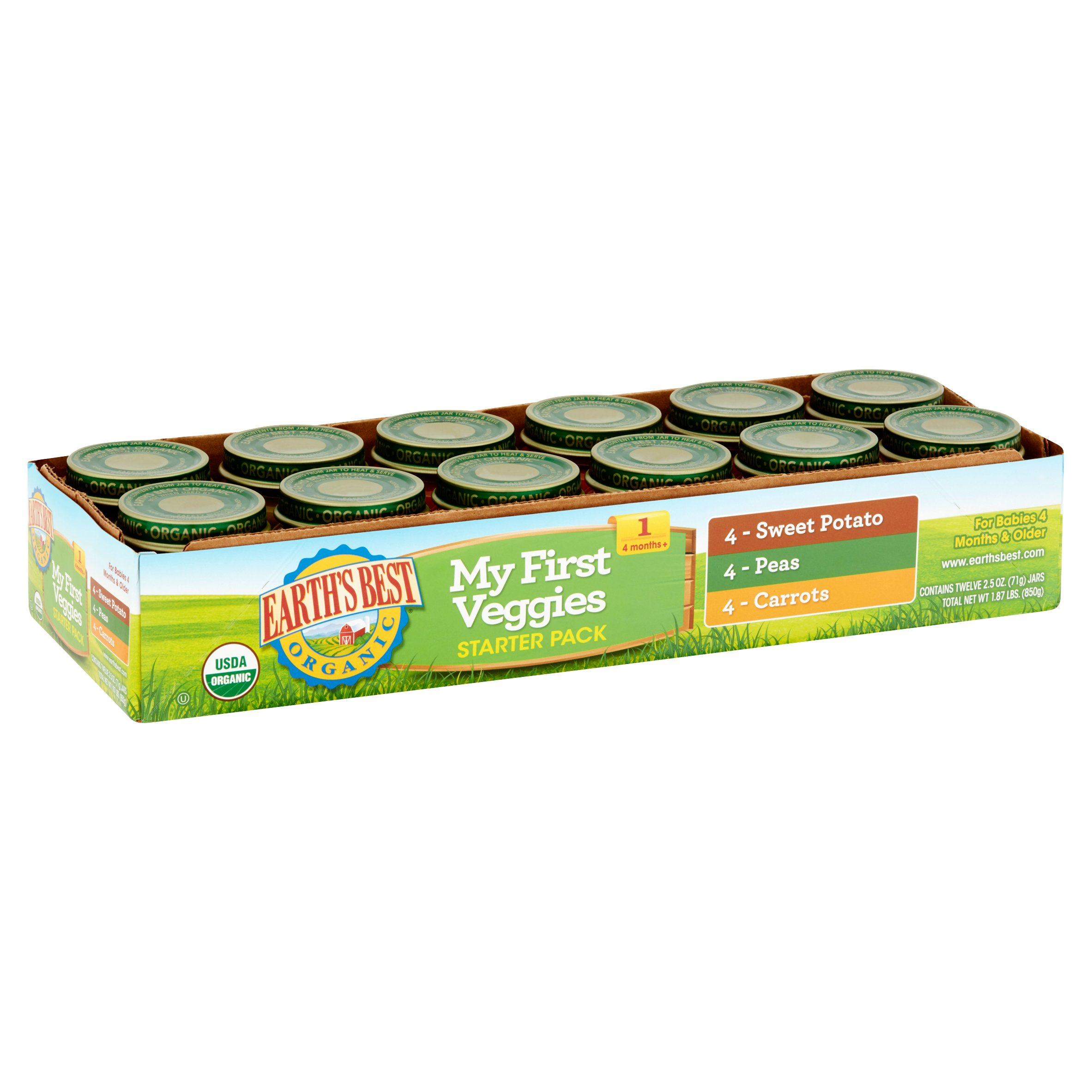 Earth's Best Organic My First Veggies Starter Pack Organic Baby Food, 2.5 oz, 12 count