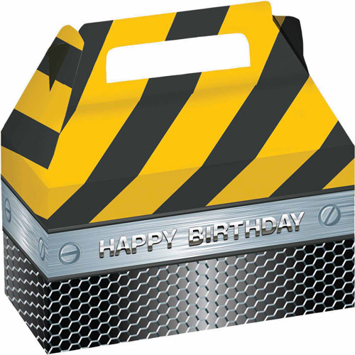 Creative Converting Construction Birthday Zone Treat Boxes with Foil