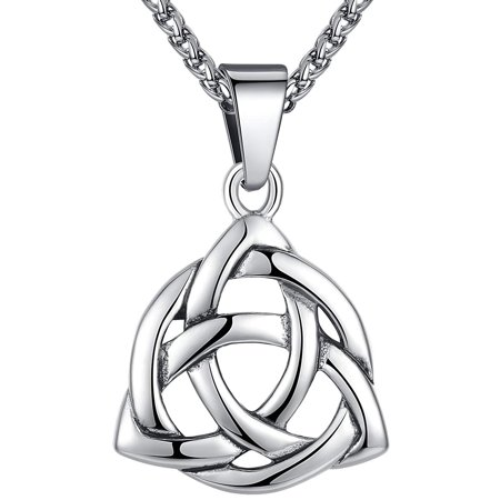 Men's Stainless Steel Large Celtic Triquetra Trinity Knot Pendant - Set Trinity Knot Pendant