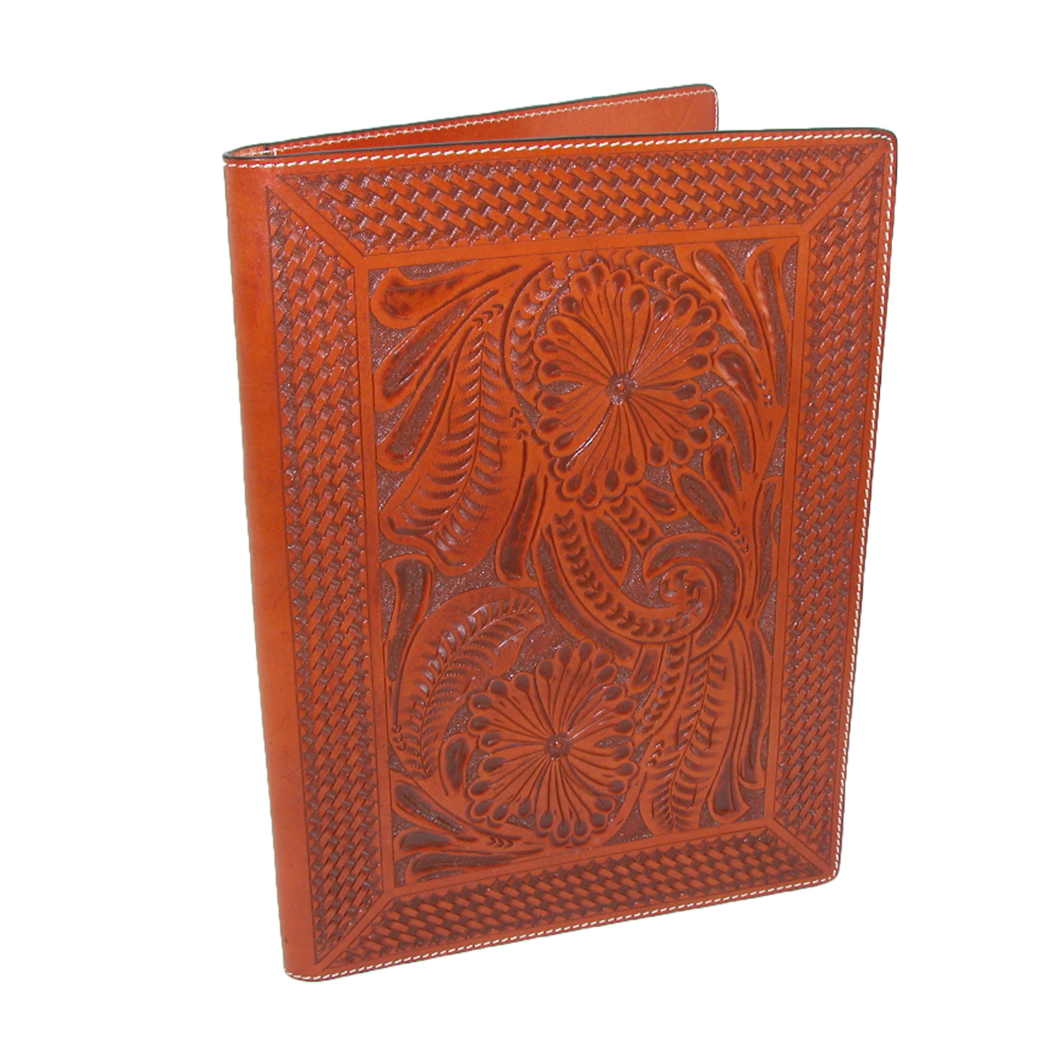 3D Western Pad Holder Leather Hand Tooled Floral Basketweave P10