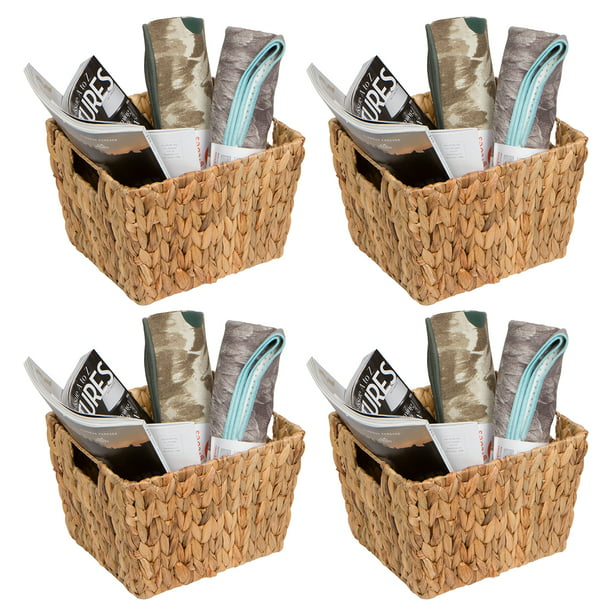 11 5 Hyacinth Storage Basket With Handles Rectangular By Trademark Innovations Set Of 4 Walmart Com Walmart Com