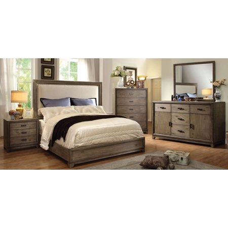 Transitional Natural Ash Finish Platform Bed Queen Size Bed Dresser Mirror Nightstand 4pc Set Linen Like Fabric HB Solid Wood Bedroom