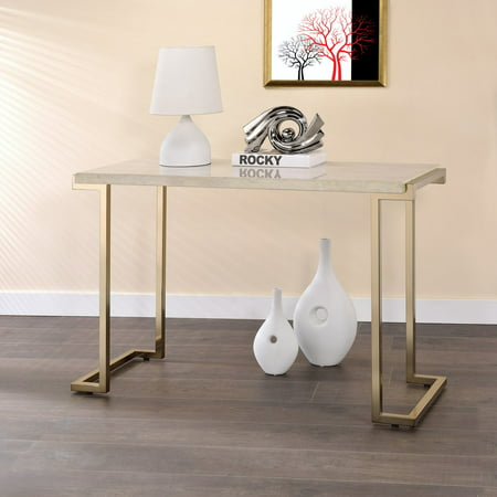ACME Boice II Sofa Table, Faux Marble and Champagne Gold Marble Top Console Table