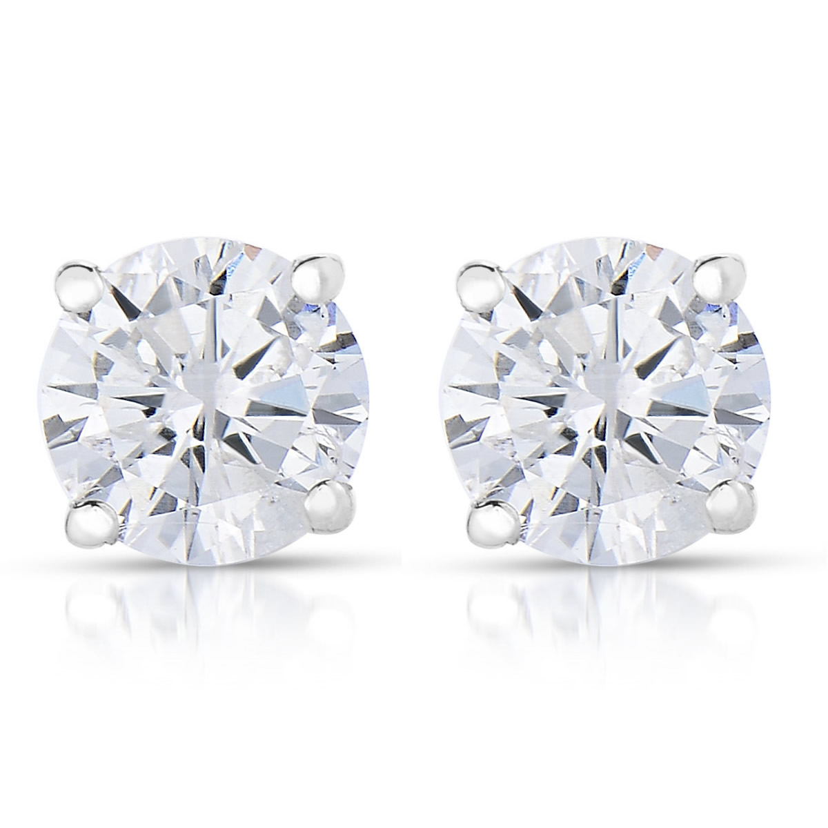 Vir Jewels 1/4 cttw (I2-I3 Clarity, K-M Color) Round Diamond Stud Earrings 14K White Gold