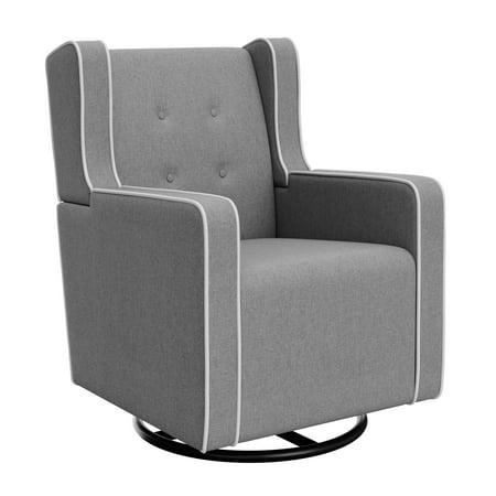 Graco Remi Tufted Upholstered Swivel Glider Horizon Light Gray / White ()