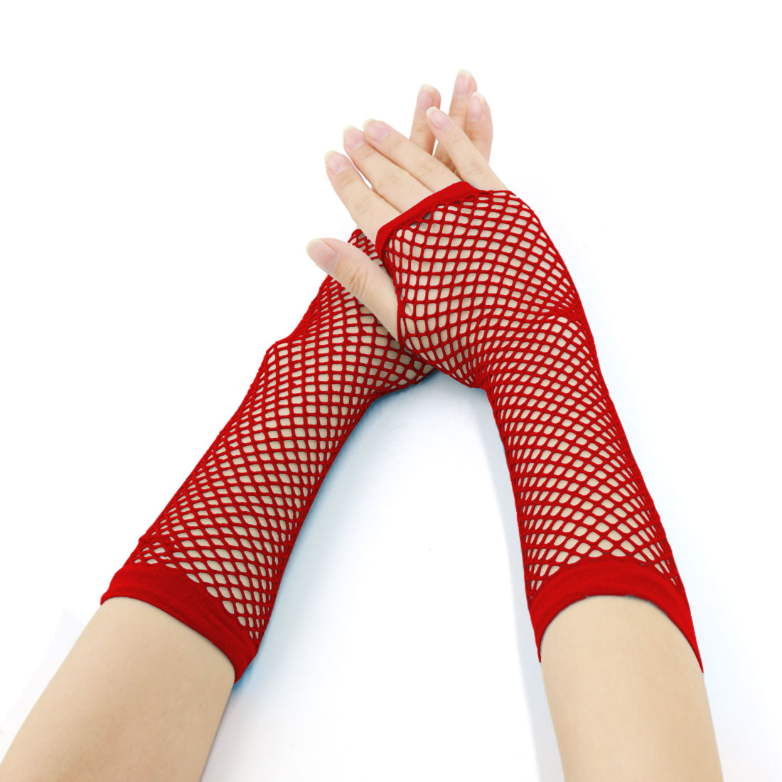 Buy 1 Get 1 Free | Women's Elbow Length Fingerless Fishnet Gloves Red