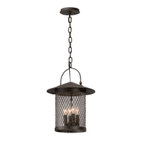 Outdoor Pendant 4 Light With French Iron Finish Hand-Forged Iron with Aluminum Material Candelabra 18 inch Long 240 Watts