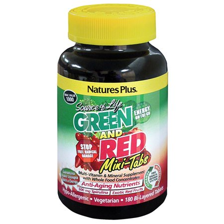 natures plus source of life green and red - 180 vegetarian mini tablets - high potency whole food multivitamin & mineral supplement, antioxidant - gluten free - 30 servings