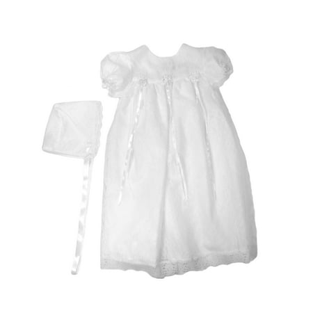 Christening Day Girls' White All-Over Lace Christening Gown with Bonnet ()
