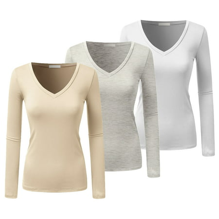 Emmalise Women's Casual Basic V-Neck Tshirt Long Sleeves Tee Top - Junior and Plus Sizes