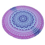 Homeholiday Stylish Round Totom Pattern Tapestry Fashion Gradient Color Beach Towel Picnic Cloth Table Throw
