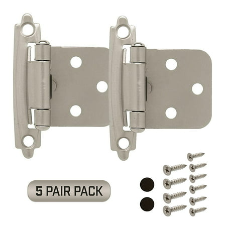 Cabinet Door Hinges 5 Pair Pack (10 Pieces) Self Closing Face Mount Overlay, Satin Nickel