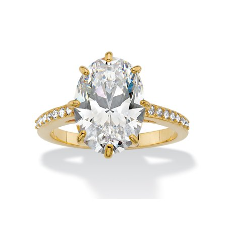 Oval Cubic Zirconia and Crystal Engagement Ring MADE WITH SWAROVSKI ELEMENTS 5.81 TCW 14k Gold-Plated