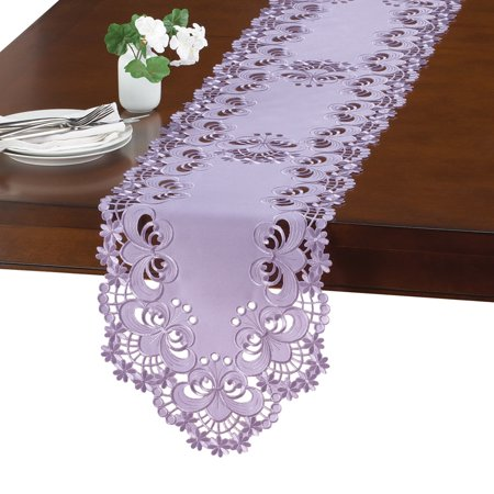 Lavender Tablecloths, Table Linens with Floral Diecut Embroidery, (Ribbon Embroidery Runner)