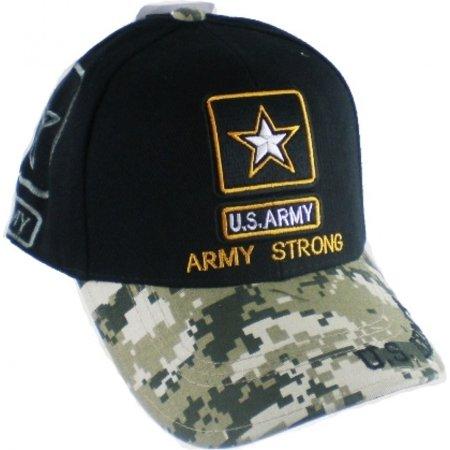 41d87e3c070 US Honor - US Honor U.S. Army Strong Star Logo Digital Camo Brim Shadow  Mens Cap  Black Camouflage - Adjustable  - Walmart.com