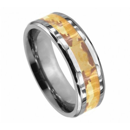 8mm Titanium High Polish Beveled Edge Desert Fox Camo Inlay Wedding Band Ring For Men Or Ladies