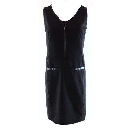 Lauren Ralph Lauren NEW Black Womens Size 14 Faux-Leather Trim Sheath Dress $159
