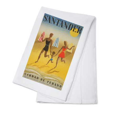 Spain   Santander    Artist  Geruy C  1942    Vintage Advertisement  100  Cotton Kitchen Towel