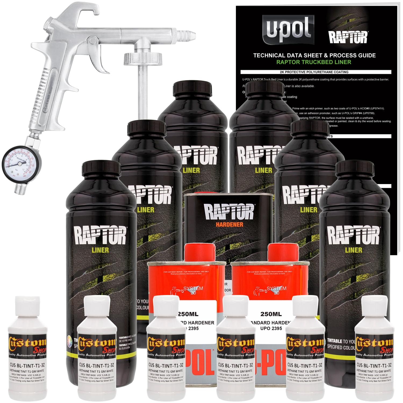 U-POL Raptor GM White Urethane Spray-On Truck Bed Liner Kit w/ FREE Custom Coat Spray Gun with Regulator, 6 Liters