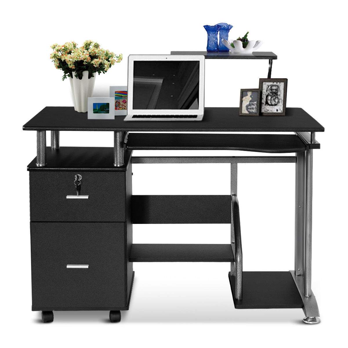 Costway computer desk pc laptop table workstation home office furniture w printer shelf walmart com