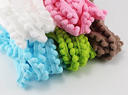 24yards 10mm Pom Pom Trim Ball Fringe Ribbon Sewing Lace 12colors//pack 2yards//color