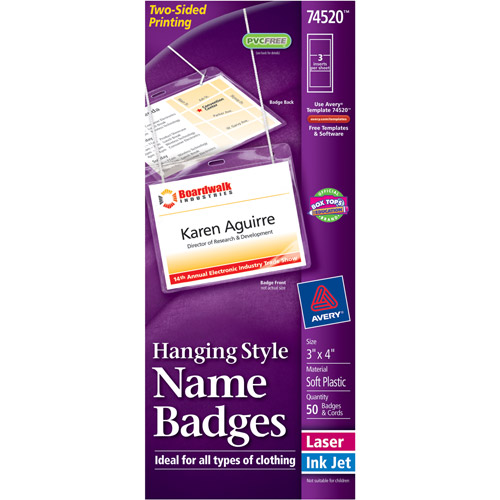"Avery Neck Hanging-Style, Flexible Badge Holders with Laser/Inkjet Inserts 74520, 3"" x 4"", White, Top-Loading, Box of 50"